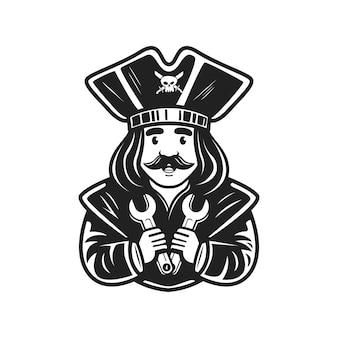 Logo postać pirat trzymający klucz