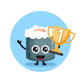 Logo postaci maskotki champion cup sushi