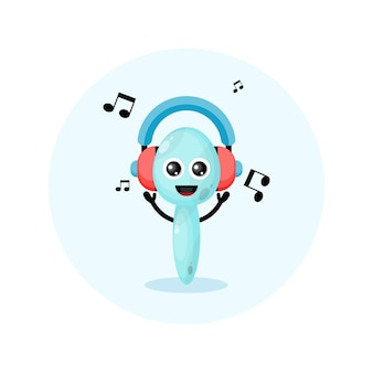 Logo postaci maskotki łyżki zestawu słuchawkowego