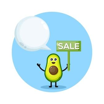 Logo postaci maskotki sprzedaży awokado