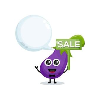 Logo postaci maskotki sprzedaży bakłażana