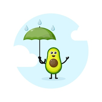 Logo postaci maskotki z awokado deszczowym parasolem