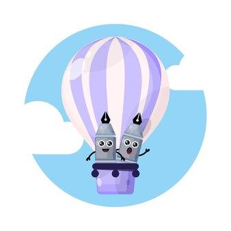 Logo postaci maskotki z balonem