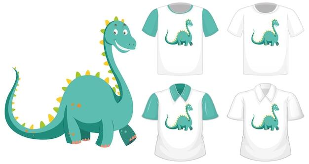 Logo postaci z kreskówki dinozaura na innej białej koszuli z zielonymi krótkimi rękawami na białym tle