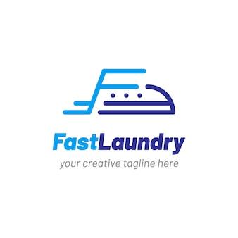 Logo pralni z ubrania żelaza ikona