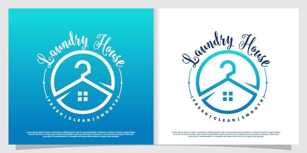 Logo pralnia z kreatywnym stylem elementu premium wektorów 3
