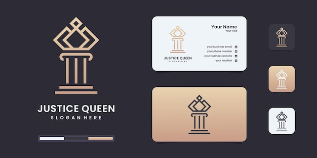 Logo prawa, szablon projektu logo królowej sprawiedliwości.