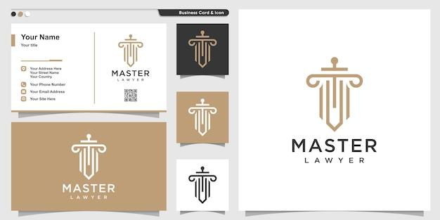 Logo prawa ze stylem grafiki liniowej i projektami wizytówek, mistrz, prawnik, konspekt