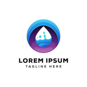 Logo premium koło kropla wody