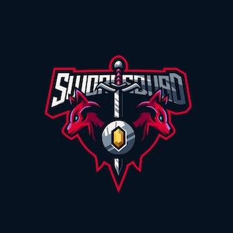 Logo premium w składzie miecza