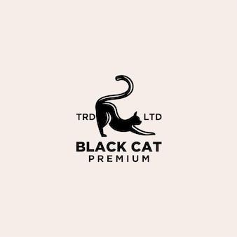 Logo premium w stylu vintage z czarnym kotem