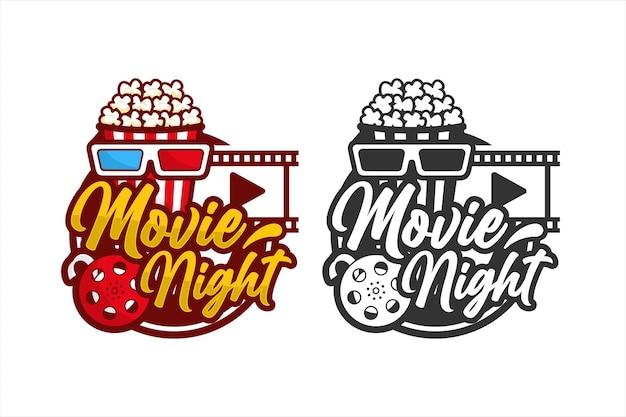 Logo premium z popcornem w nocy filmowej