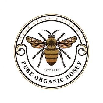 Logo produktów miodu lub farm pszczół miodnych