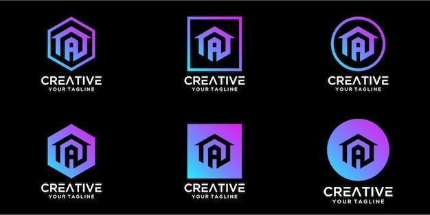 Logo projekt domu w połączeniu z listem projekt szablonu