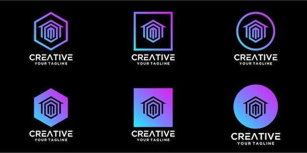 Logo projekt domu w połączeniu z szablonem wzorów na literę m