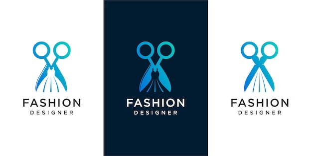 Logo projektanta mody, kreatywne połączenie sukienki i logo nożycowego .premium vector