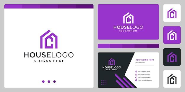 Logo projektu budynku domu z inicjałami litera c. projekt wizytówki
