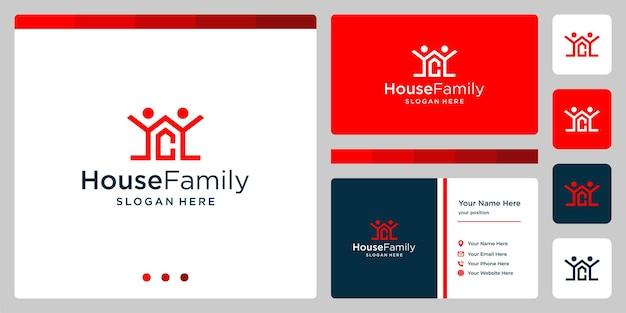 Logo projektu budynku domu z logo rodziny i początkową literą c. projekt wizytówki