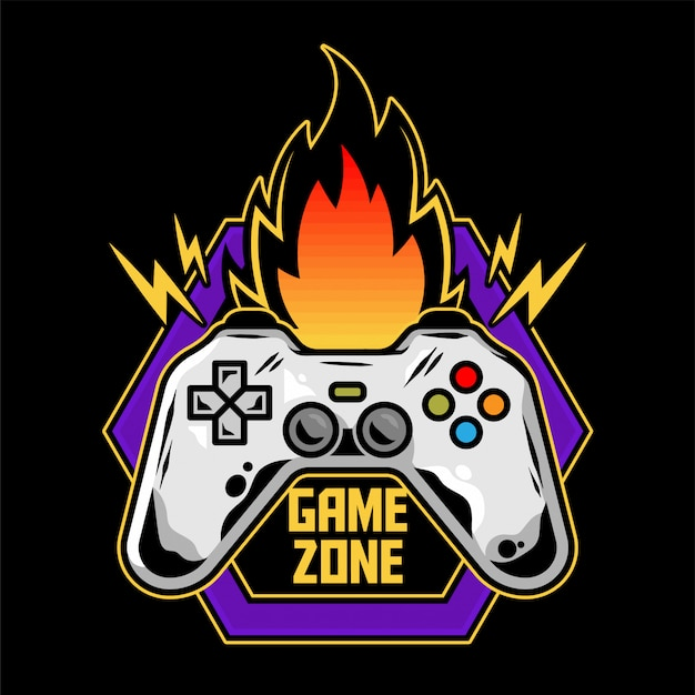 Logo projektu gry gamepad do zręcznościowej gry wideo dla graczy nowoczesna ilustracja z kontrolerem dla strefy geekowej kultury.