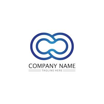 Logo projektu infinity i 8 ikon, wektor, znak, kreatywne logo dla biznesu i korporacyjnego symbolu nieskończoności