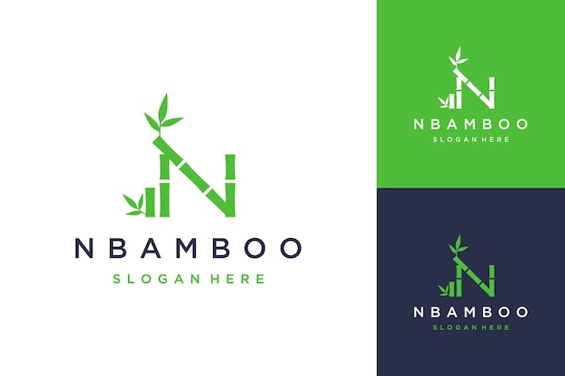 Logo projektu roślin lub litera n z bambusem