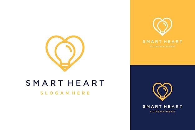 Logo projektu serca z żarówką