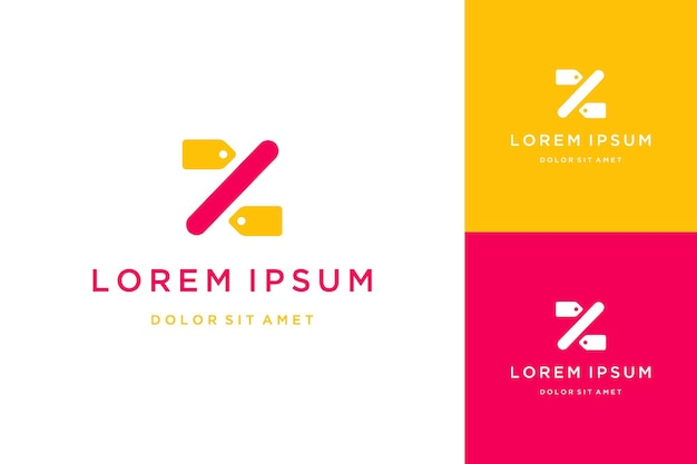 Logo projektu sprzedaży lub monogram lub inicjał litery z ze zniżką lub ceną