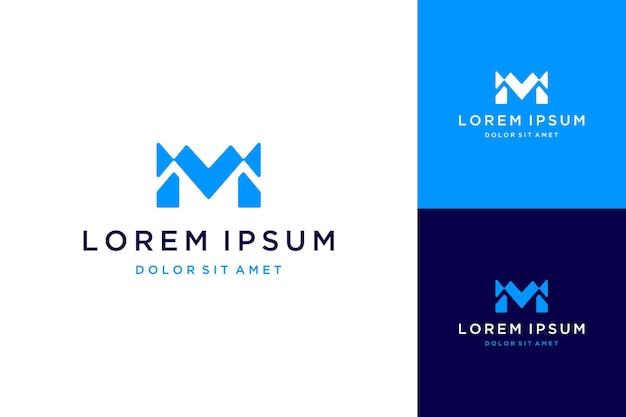 Logo projektu technologii lub monogram lub inicjały litery mv lub m