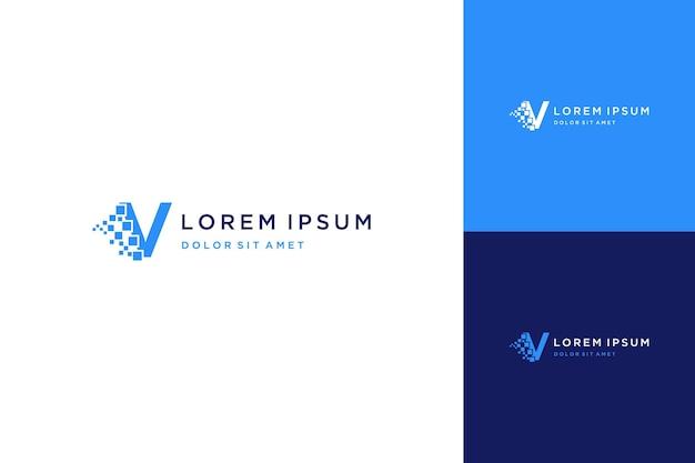 Logo projektu technologii lub monogram lub litera v z pikselem