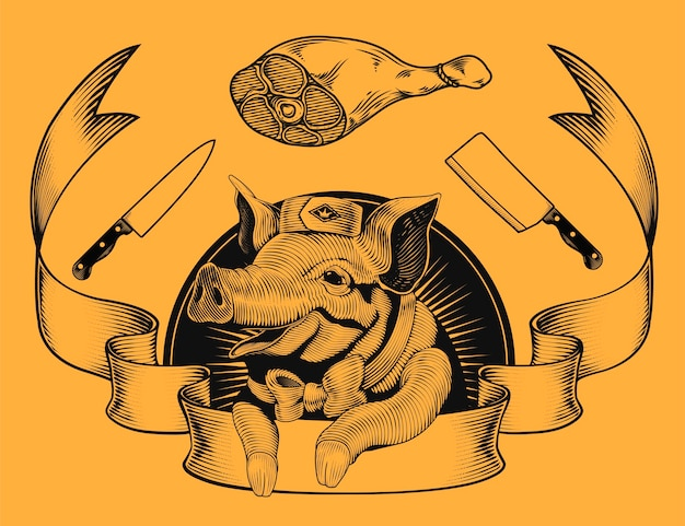 Logo promocyjne sklepu mięsnego, urocza uśmiechnięta świnia w stylu grawerowania