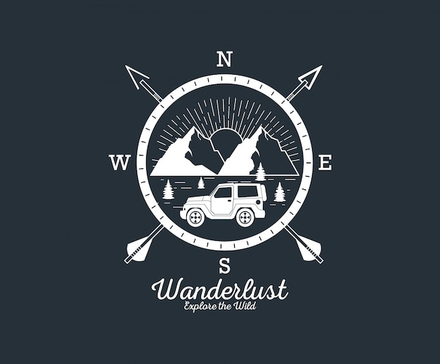Logo przygody wanderlust