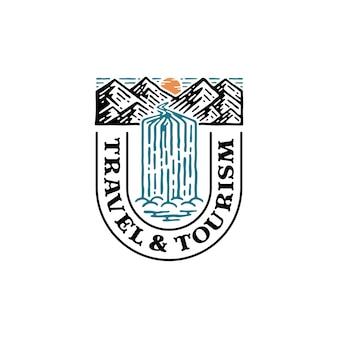 Logo przyrody w kształcie litery t. logo góry z wodospadem.