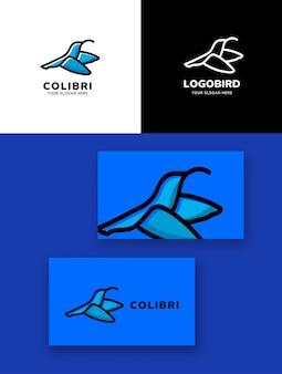 Logo ptaka colibri proste monoline