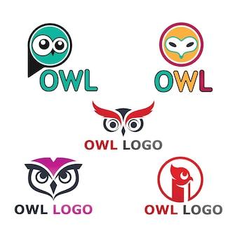 Logo ptaka sowy i symbol wektor zwierzęcy