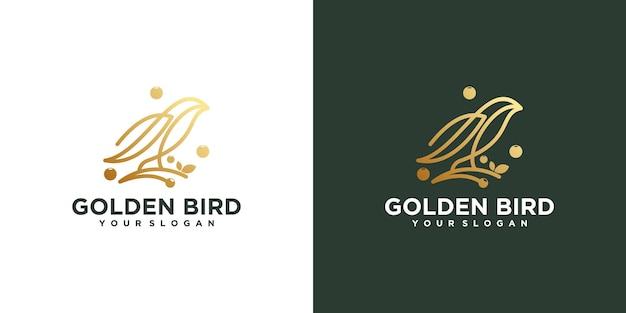 Logo ptaka z grafiką liniową, logo referencyjne