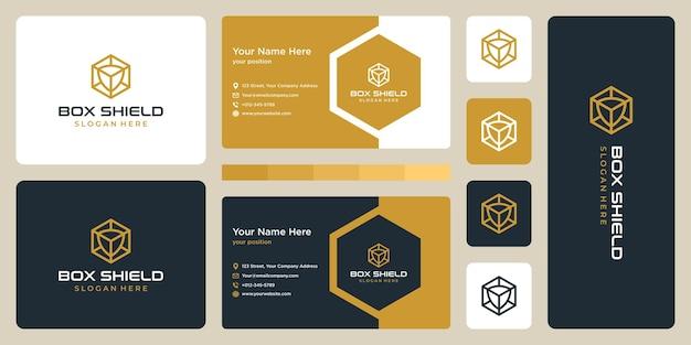 Logo pudełka i tarczy. szablon projektu wizytówki