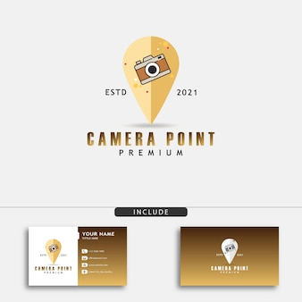 Logo punktu aparatu w kształcie pinezki na mapie dla biznesu fotograficznego