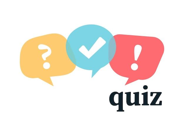 Logo quizu z symbolami dymka. płaskie symbole mowy bańki. koncepcja komunikacji społecznej, czat, wywiad, głosowanie, dyskusja, rozmowa, dialog zespołowy, czat grupowy