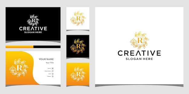 Logo r luksus z szablonem wizytówki