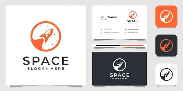 Logo rakiety w nowoczesnym stylu. dobre dla marki, reklamy, przestrzeni, nieba, powietrza, biznesu, firmy i wizytówki