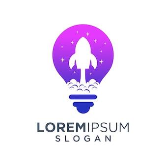 Logo rakiety w żarówki