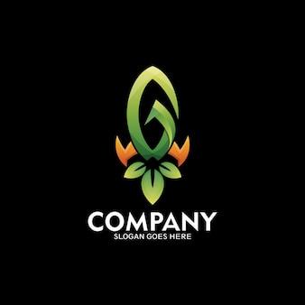 Logo rakiety z literą g, logo go zielony symbol - wektor