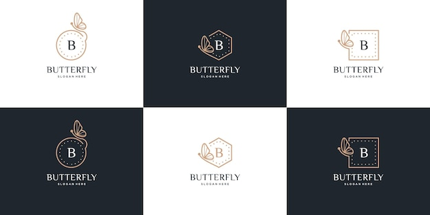 Logo ramki motyla z projektem litery b