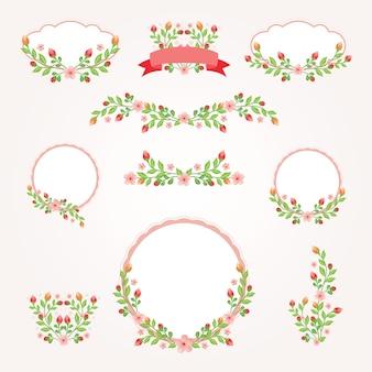 Logo ramki ślubne vintage kwiatowy wzór