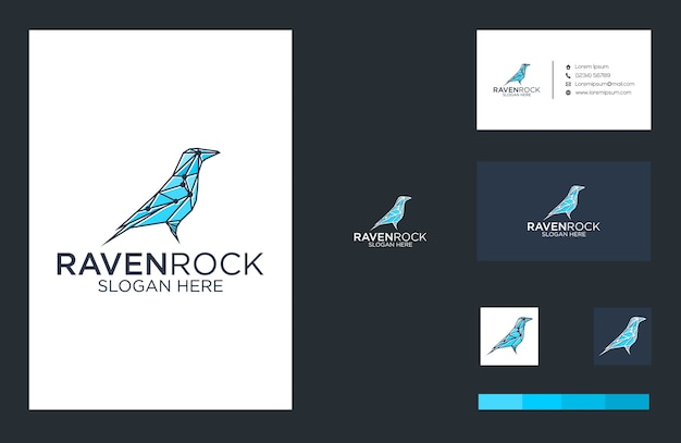 Logo raven rock i projekt wizytówki