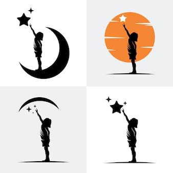 Logo reach dreams z symbolem księżyca, logo reaching star