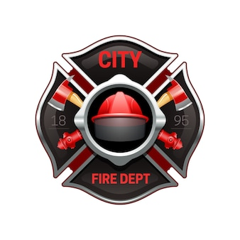 Logo realistyczne organizacji miejskich straży pożarnej