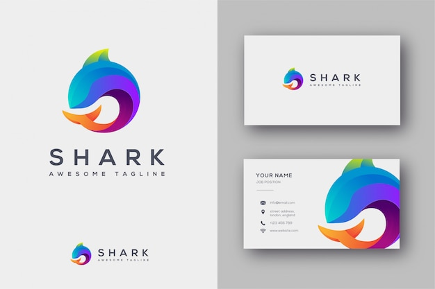 Logo rekina i szablon wizytówki