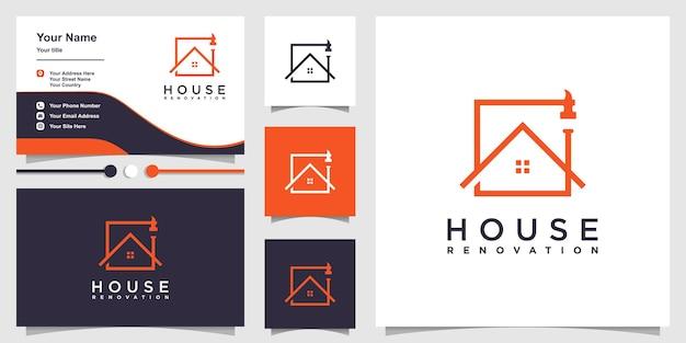 Logo remontu domu z kreatywną koncepcją odpowiednią dla firm budowlanych premium wektor
