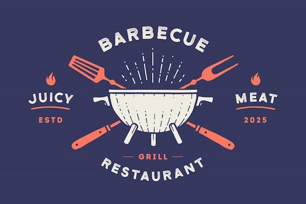 Logo restauracji. logo z grillem, grillem lub grillem